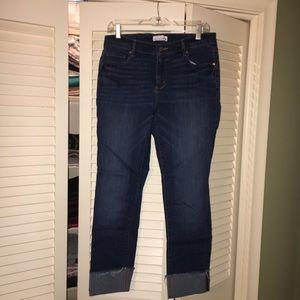 LOFT Flip cuff straight leg jeans